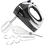 VonShef BLACK 250W Hand Mixer Whisk With Chrome Beater, Dough Hook, 5 Speed and Turbo Button + FREE Balloon Whisk