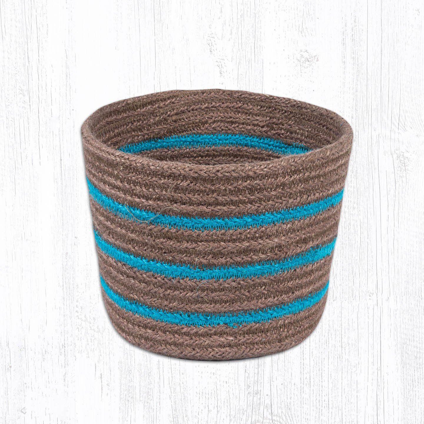 Turquoise & Brown Round Basket 6 in. by 7 in.