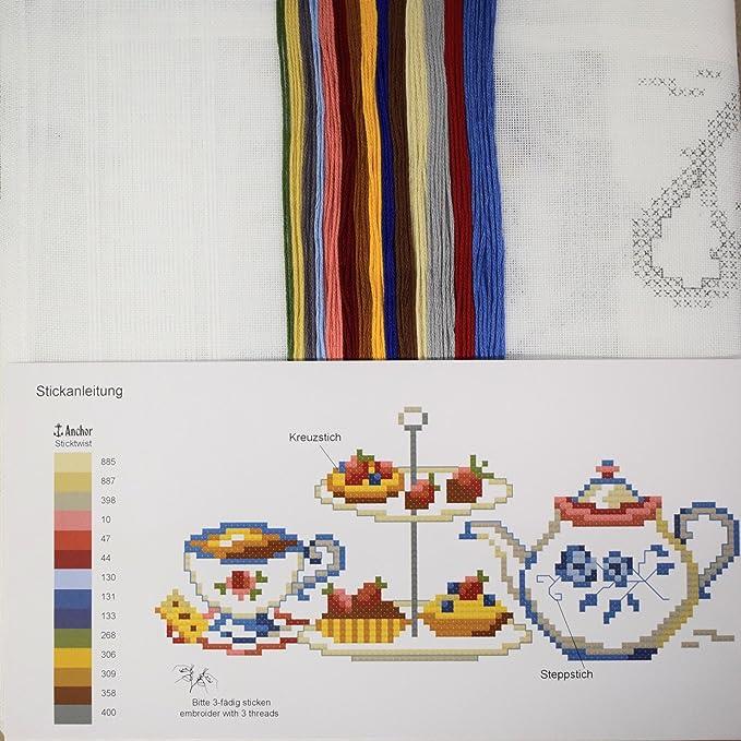 Stickpackung TEATIME / Komplettes vorgezeichnetes Tischdecken Set ...