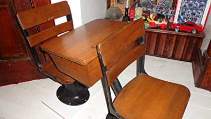 """Antique School Desk and Seats 26"""" tall x 13.5"""" wide Antique ... - Amazon.com : Antique School Desk And Seats 26"""
