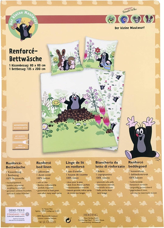 Baumwolle//Renforc/é Herding DER KLEINE MAULWURF Bettw/äsche-Set Bettbezug 135 x 200 cm Kopfkissenbezug 80 x 80 cm Wendemotiv