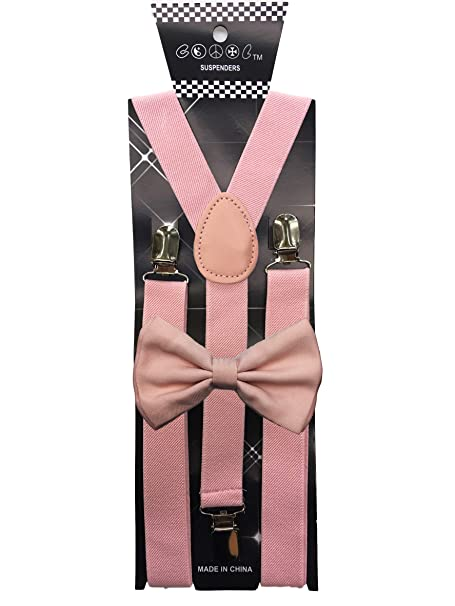 46a83d3b0b26 Awesome Light Pink Wedding Accessories Adjustable Bow Tie & Suspenders:  Amazon.ca: Clothing & Accessories