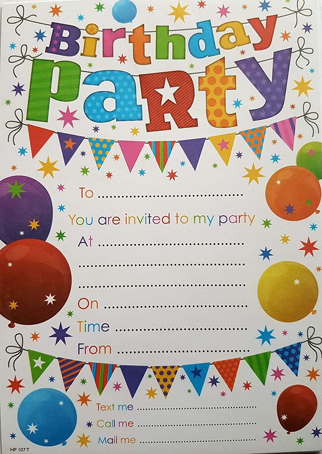 Party Invitations With Balloon Design Pack Of 20 Invites