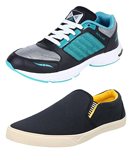 0636cc3955 Chevit Men s Canvas and Synthetic Leather Casual and Sports Loafers and  Running Shoes Combo (6 UK) - Pack of 2  Buy Online at Low Prices in India -  Amazon. ...