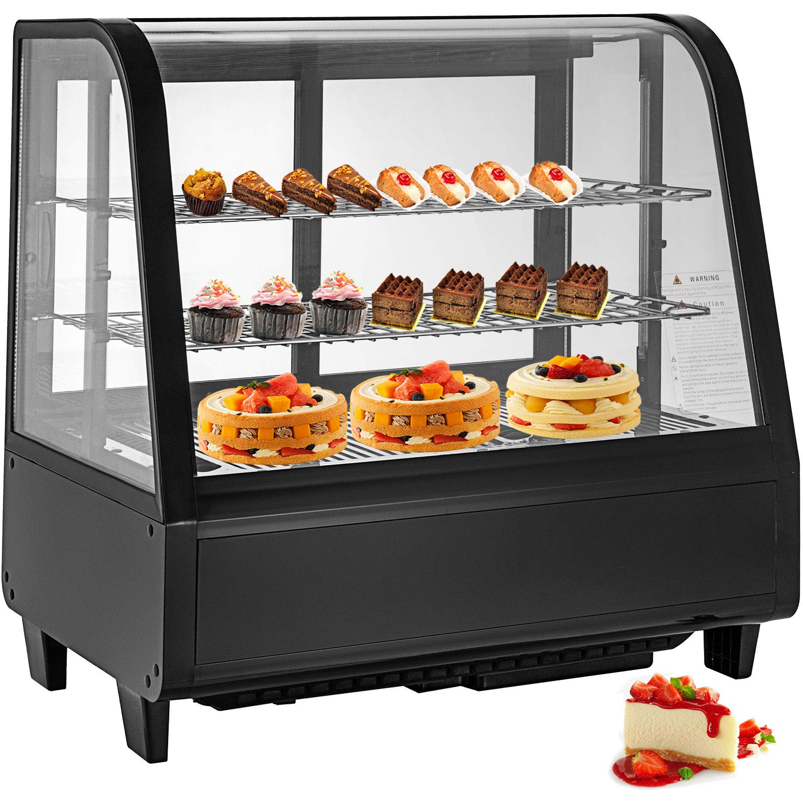 VBENLEM 3-1/2 cu ft Commercial Countertop Refrigerator 100L Bakery Dairy Display Cooler Case with Automatic Defrost LED Lighting Suit for Cake Roaster Shop Cafe Use by VBENLEM