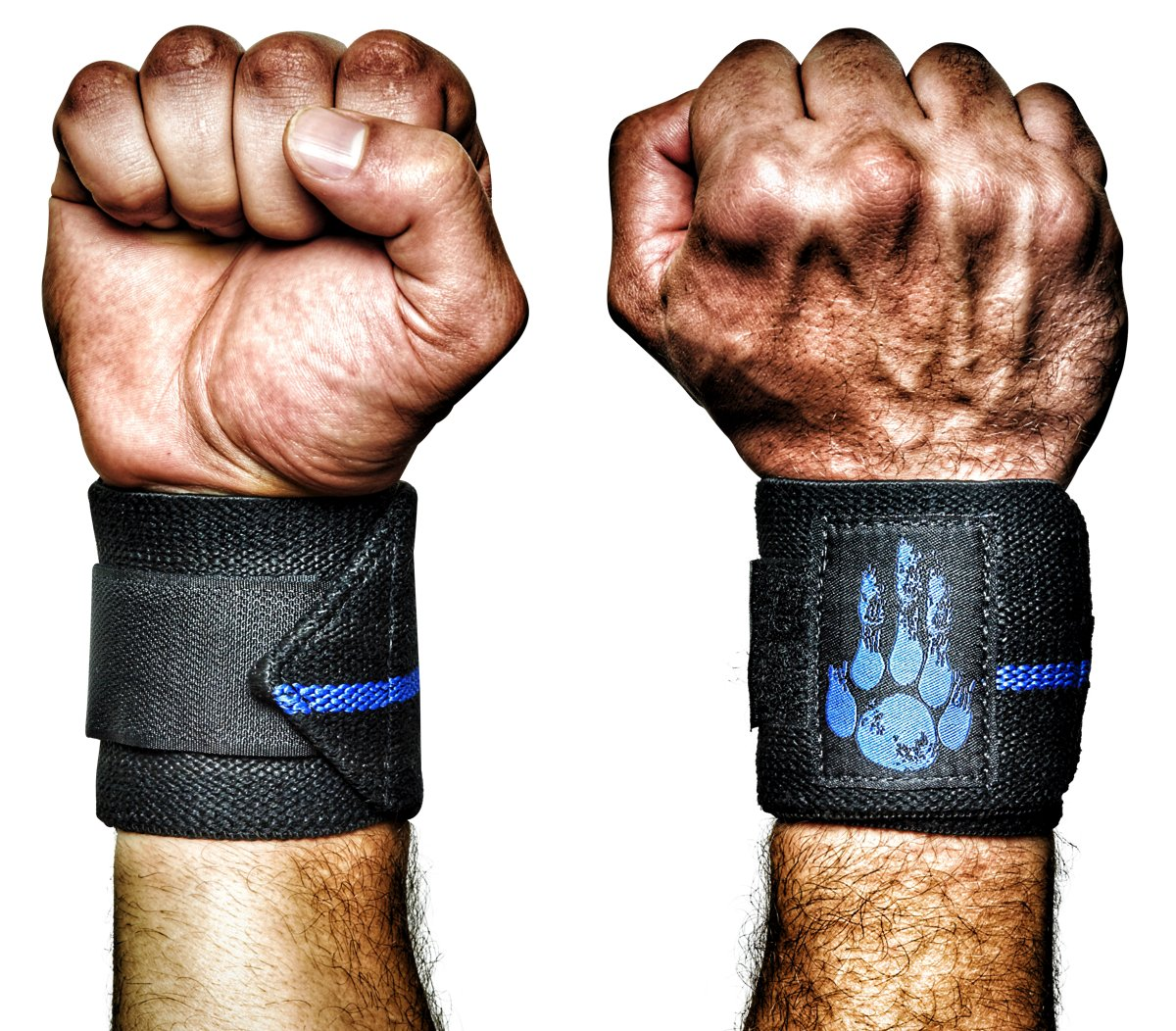 MANIMAL: The Best Weightlifting Straps with Superior Wrist Support, 1 Wrist Wraps Trusted by Professional Powerlifting, Strongman, Crossfit and Olympic Athletes - Thin Blue Line
