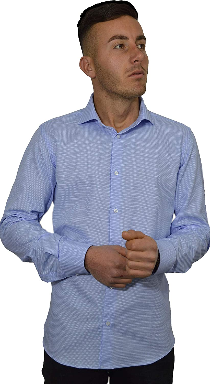 Iacobellis - Camisa de Hombre Elegante Tejido Dobby Micro fantasía algodón 100% Made in Italy Celeste Motivo Bianco 48: Amazon.es: Ropa y accesorios
