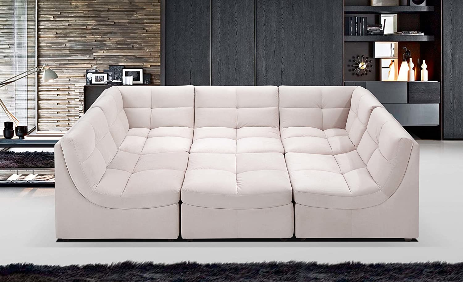 Amazon com beige sectional sofa set couch upholstered suede fabric armless chairs corners ottoman couch comfort modern living room furniture kitchen