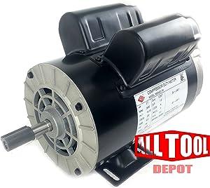 """3.7 HP 3450 RPM, 56 Frame, 230V, 17.2Amp, 5/8"""" Shaft, Single Phase NEMA Air Compressor Motor - EM-04"""