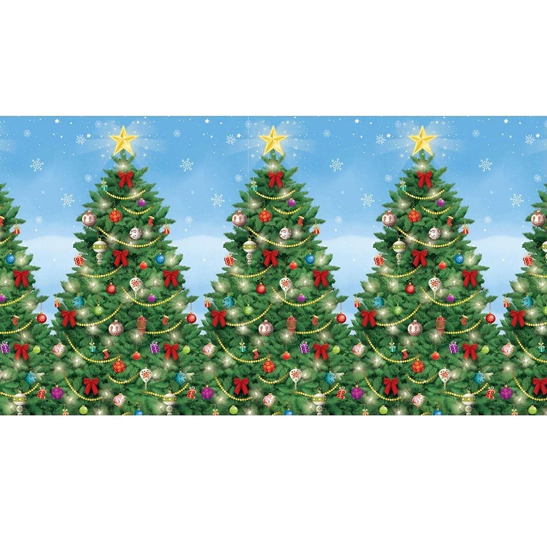 Giant Christmas Tree Scene Setter Vinyl Xmas Room Roll Long Room ...