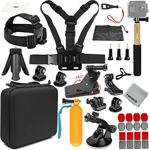 Gurmoir 16in1 Action Camera Accessories with Waterproof Case and Selfie Stick for Gopro Hero 8 Black Action Camera Only.Full Essential Outdoor Travel Hiking Action Camera Kit for Gopro Hero 8 (AT06)
