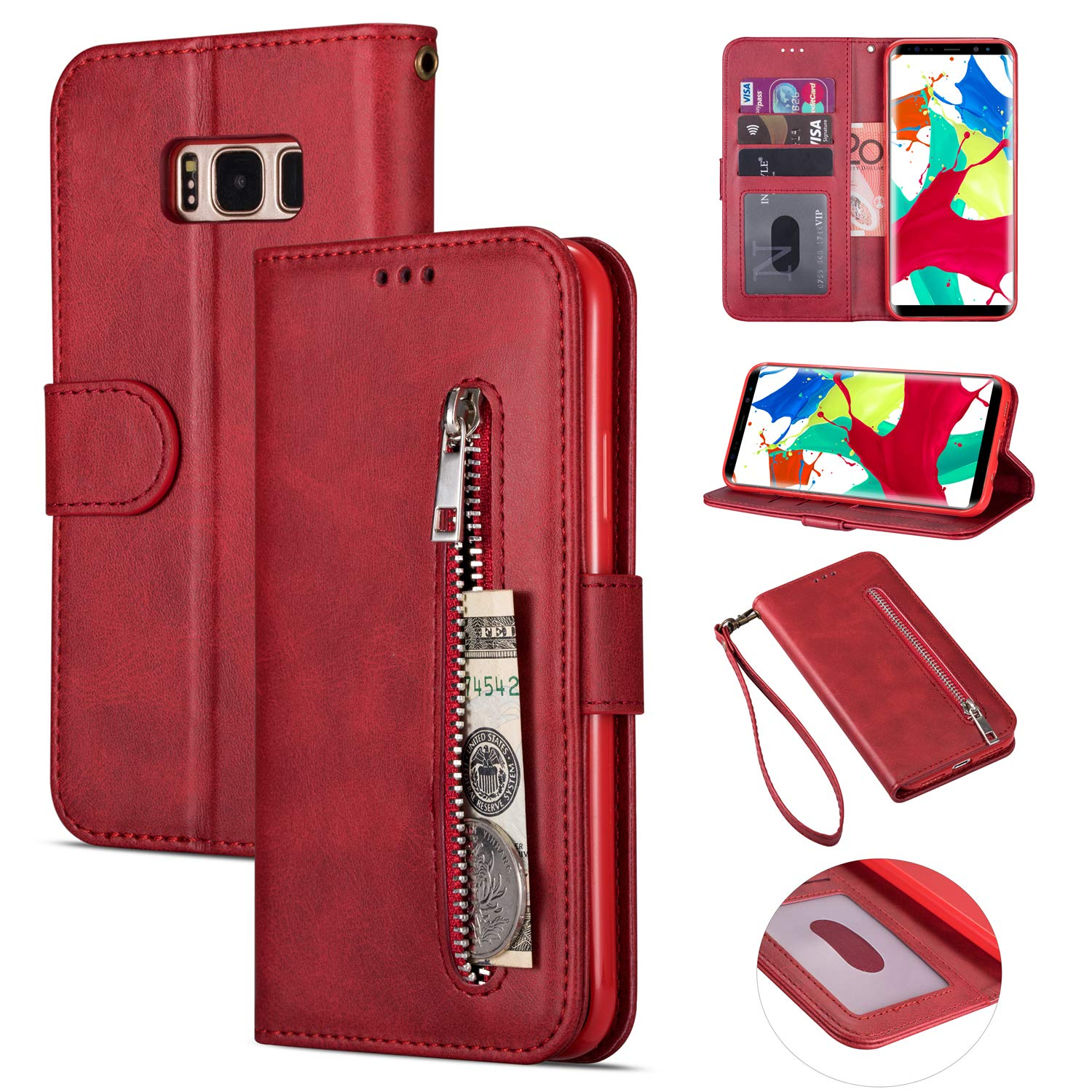 Zipper Wallet Case with Black Dual-use Pen for Samsung Galaxy S8 Plus,Aoucase Money Coin Pocket Card Holder Shock Resistant Strap Purse PU Leather Case for Samsung Galaxy S8 Plus - Red by Aoucase