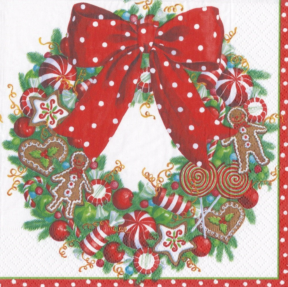 Entertaining with Caspari Candy Wreath Luncheon Napkin, 20-Pack