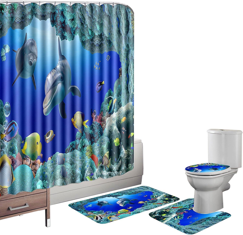 12 Hooks Dolphin Sea Waterproof Shower Curtain Bathroom Floor Mat Toilet Set
