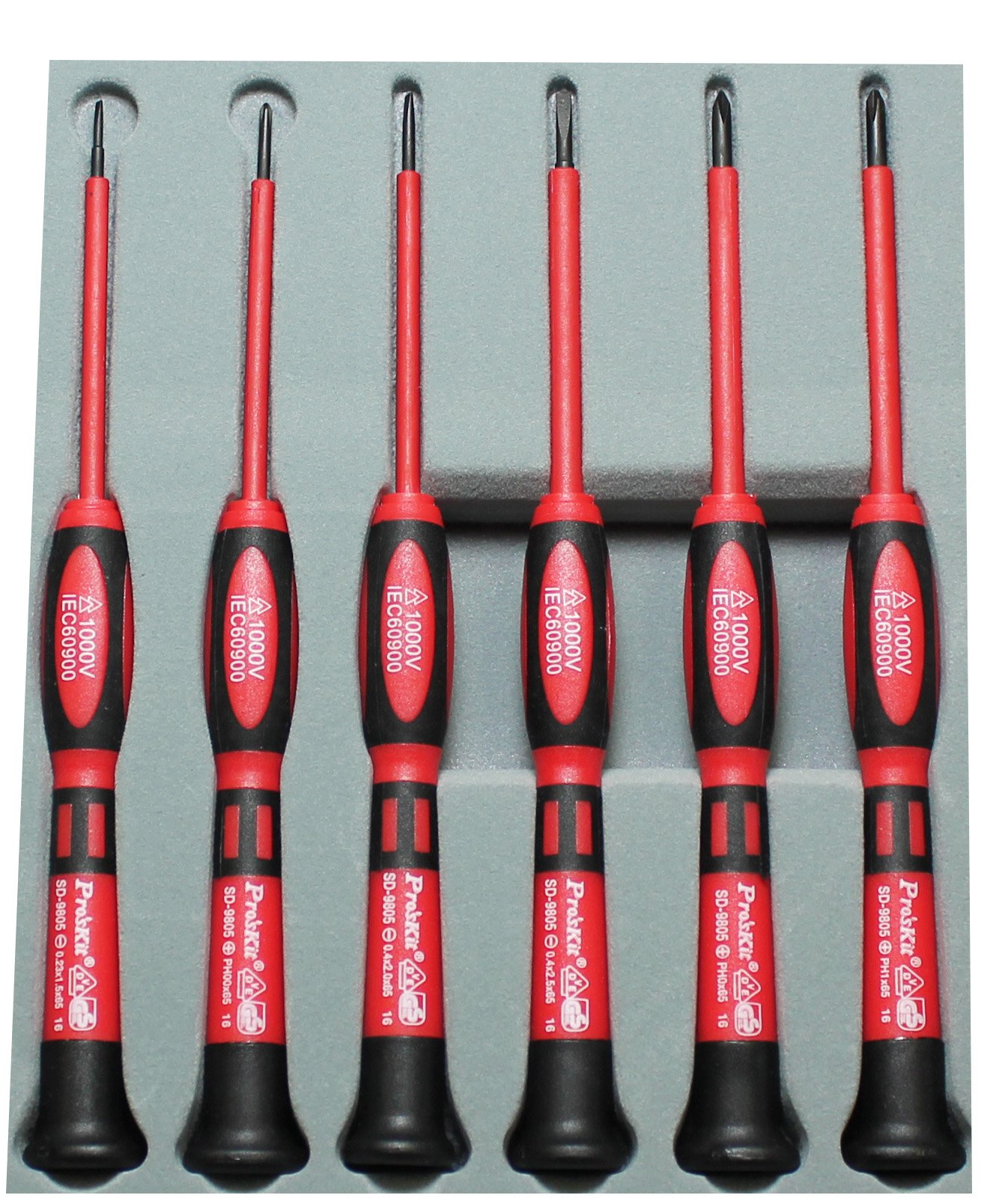 Pro'sKit 902-099 Insulated Precision Screwdriver Set, 3 Phillips and 3 Flat