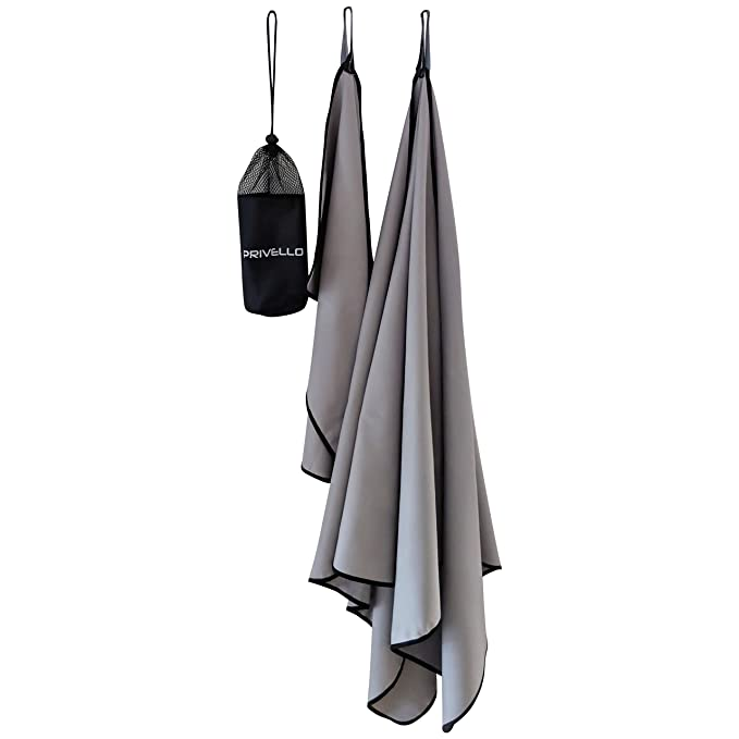 Amazon.com : Privello Microlite Camping & Travel Towels Pack 2 Sizes, Microfiber Bath (59 x 30) & Hand Towel (23 x 14) Ultra Compact in Carry Bag Gym, ...