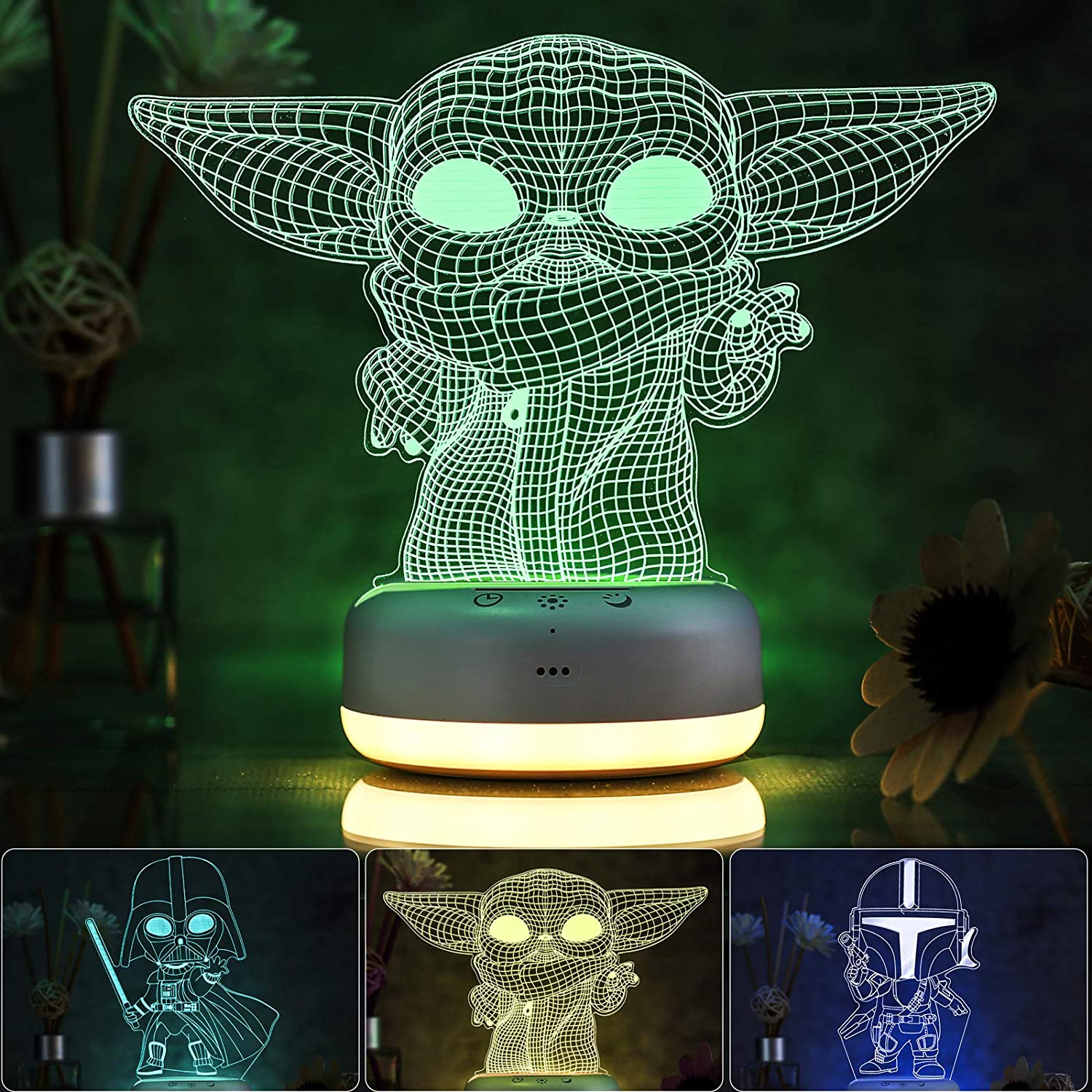3D Star Wars Night Light for Kids, 3 Patterns and 16 Color Change Night Light, Kids' Room Decor Lamps, Baby Yoda & The Mandalorian Toys, Gifts for Kids and Star Wars Fans