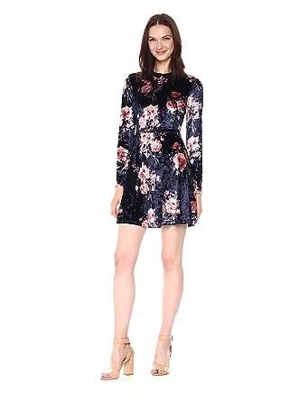 60590c7d02c Taylor and Sage Women s Floral Print Panne Dress at Amazon Women s ...