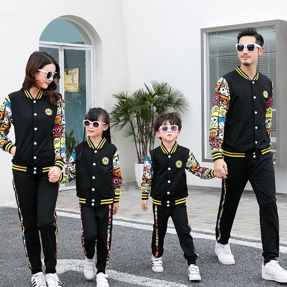 OnlyAngel Kids Boys Girls Athletic Tracksuits Floral Cartoon Sleeve Jacket /& Elasitc Pants Set Age 3-12