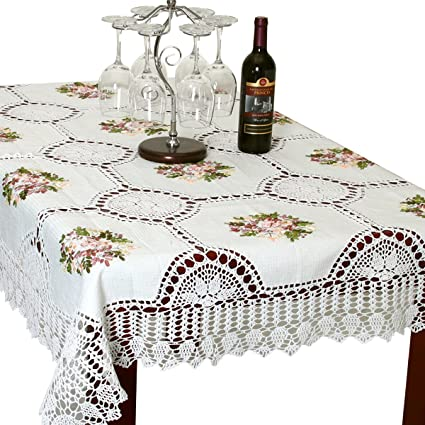 Merveilleux Simhomsen Handmade White Cotton Linen Tablecloth Ribbon Embroidered Crochet  Rectangle 52 × 70 Inch