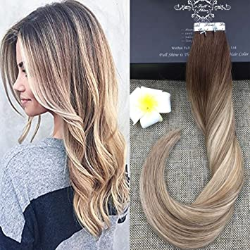 Amazon full shine 20 inch tape in hair extensions human hair full shine 20 inch tape in hair extensions human hair balayage tape hair extensions color pmusecretfo Image collections