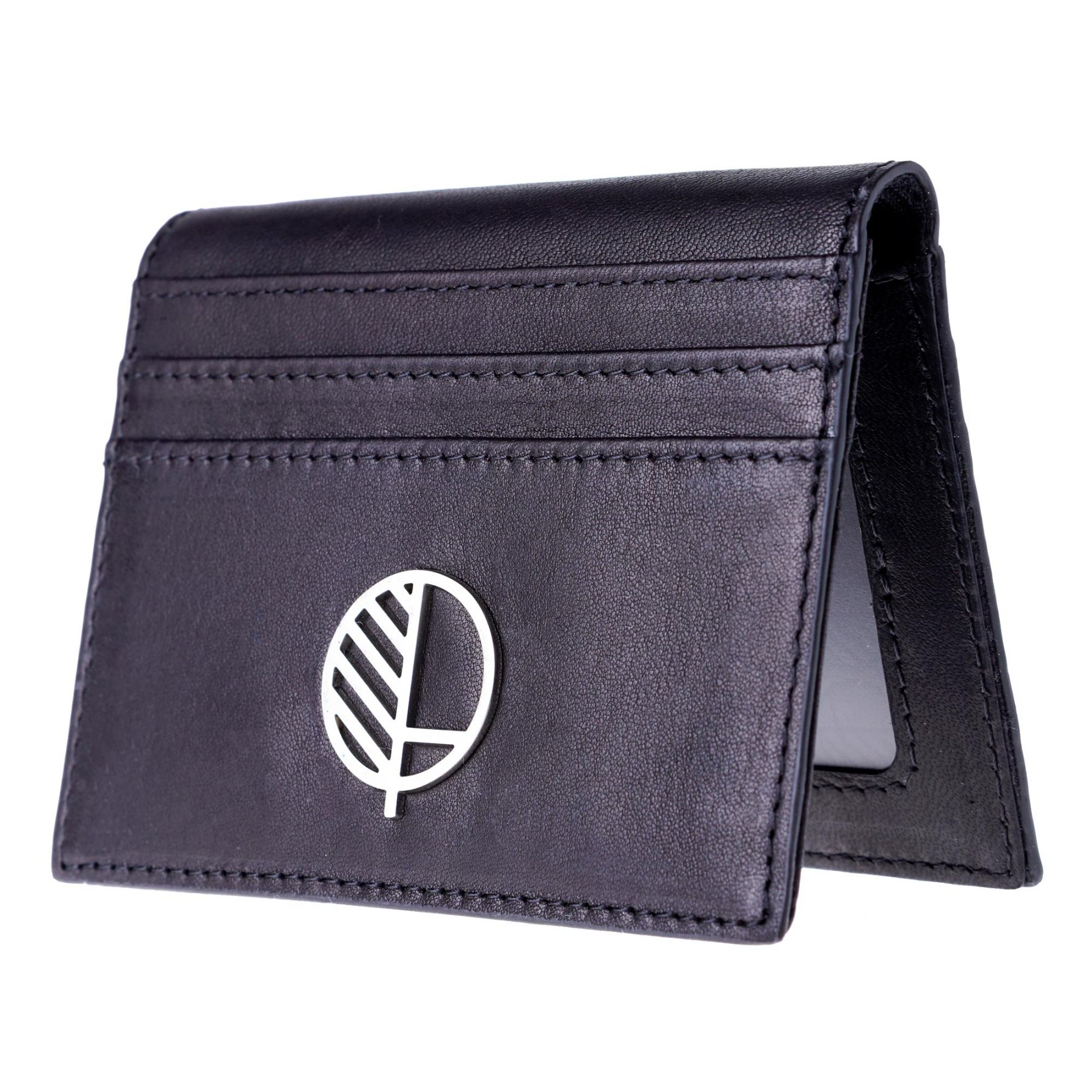 Mens Premium Real Leather Compact Wallet and Large Credit Card Holder with ID Window in Stunning, Sensuous, Genuine British Leather. The ''Active'' from Drew Lennox in Buttery Soft Verglas Black.
