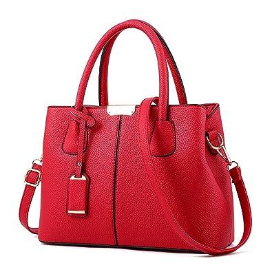 362eb7fad Manuertin Women s Top-handle Cross Body Handbag Middle Size Purse Durable  Leather Tote Bag Wine