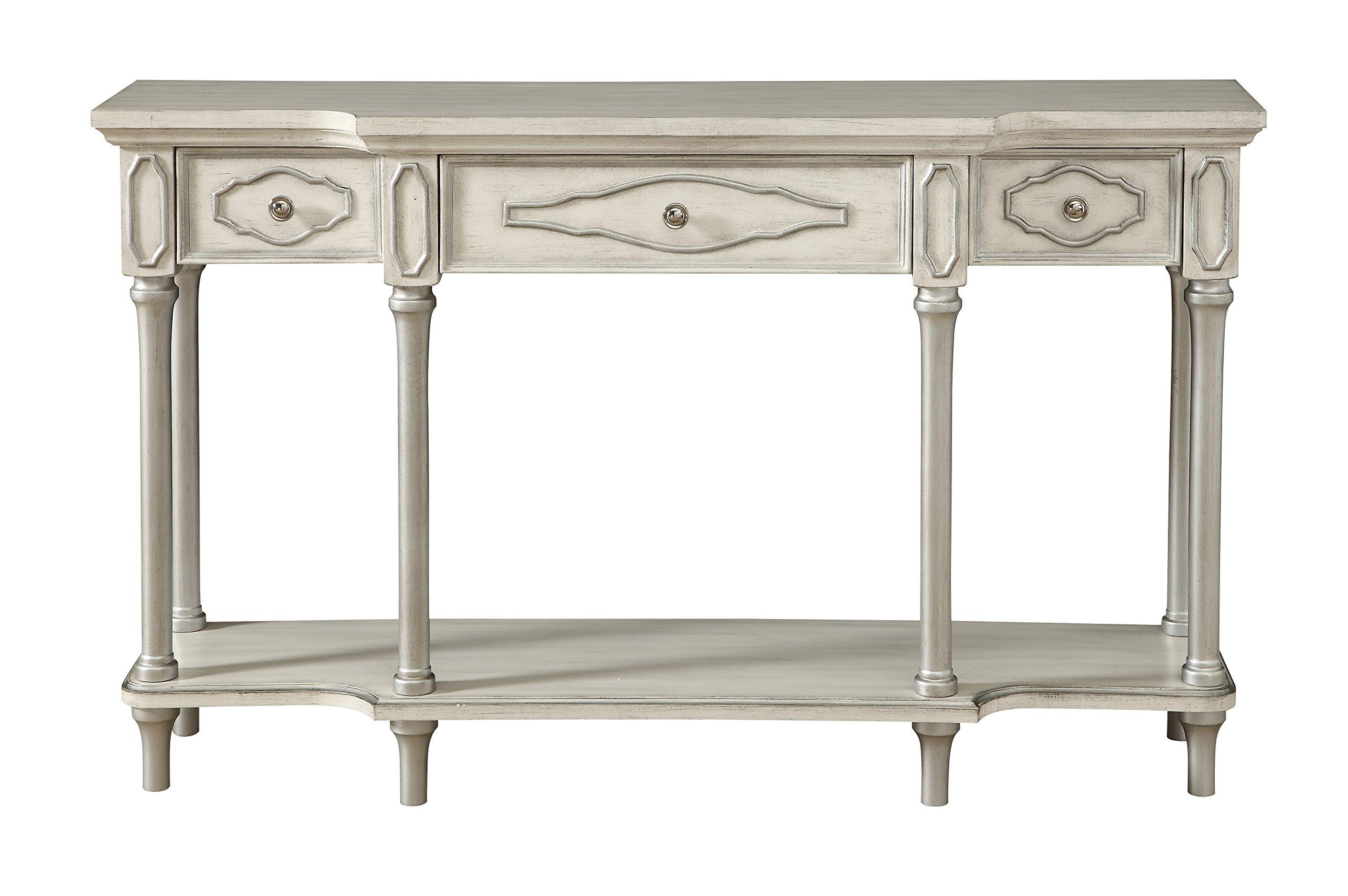 Treasure Trove 17297 Three Drawer Console Table, Ivory Rub
