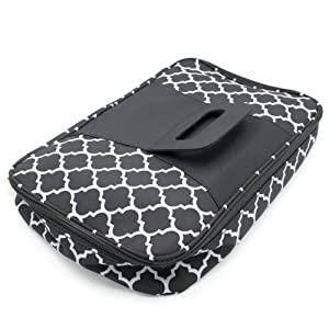Insulated Casserole Carrier with Handle, Thermal Travel Tote Bag, Pretty Trellis Patterned Carrying Case (Black, 9 x 13)