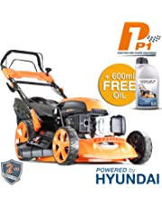 Hyundai Engine P1PE P5100SPE 173cc Petrol Lawnmowers Self Propelled Electric Start 20 Inch 51 Centimetre Cutting Width, Steel Deck Lawn Mower, Included Engine Oil, Orange