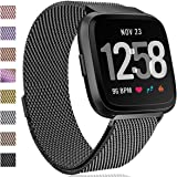 HUMENN for Fitbit Versa Strap Bands, Luxury Milanese Stainless Steel Adjustable Smart Watch Strap with Magnetic Closure for Fitbit Versa/Fitbit Versa Lite Edition, S & L