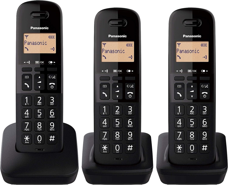 Panasonic KX-TGB612 - Teléfono Fijo inalámbrico dúo, Bloqueo de Llamadas, 18 Horas de conversación, 200 Horas en Espera, Agenda 50 contactos, Resistencia a caídas, Color Negro: Amazon.es: Electrónica