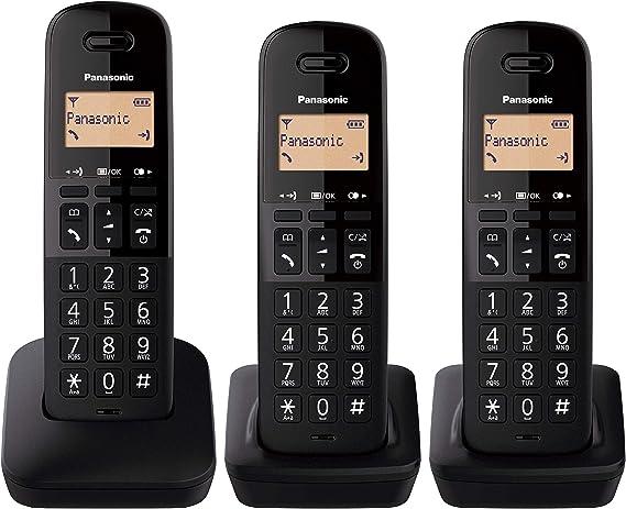 Panasonic KX-TGB613 - Teléfono Fijo inalámbrico trío, Bloqueo de Llamadas, 18 Horas de conversación, 200 Horas en Espera, Agenda 50 contactos, Resistencia a caídas, Color Negro: Amazon.es: Electrónica
