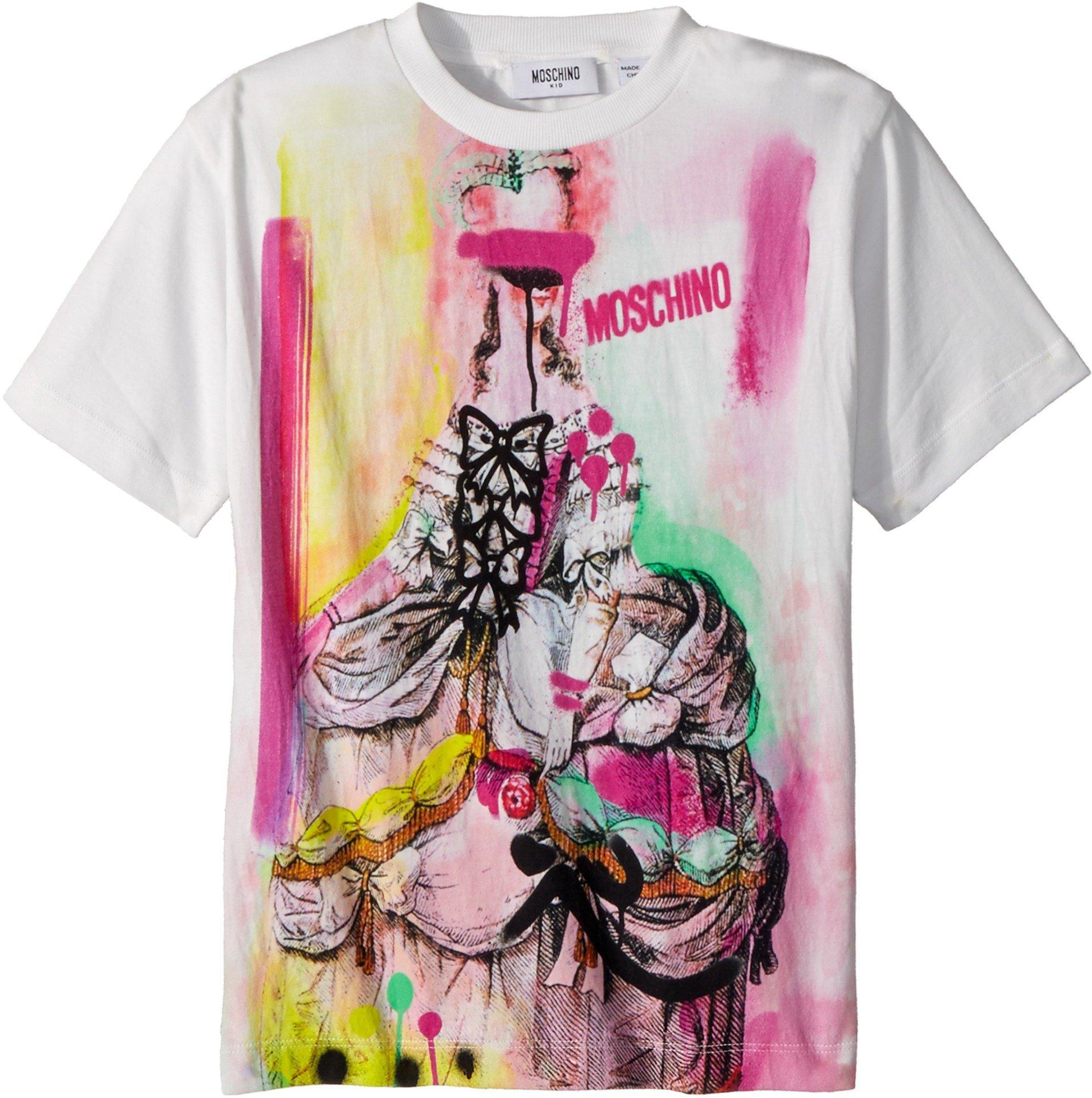 Moschino Kids Girl's Short Sleeve Victorian Graffiti Graphic T-Shirt (Little Kids/Big Kids) Cloud 6