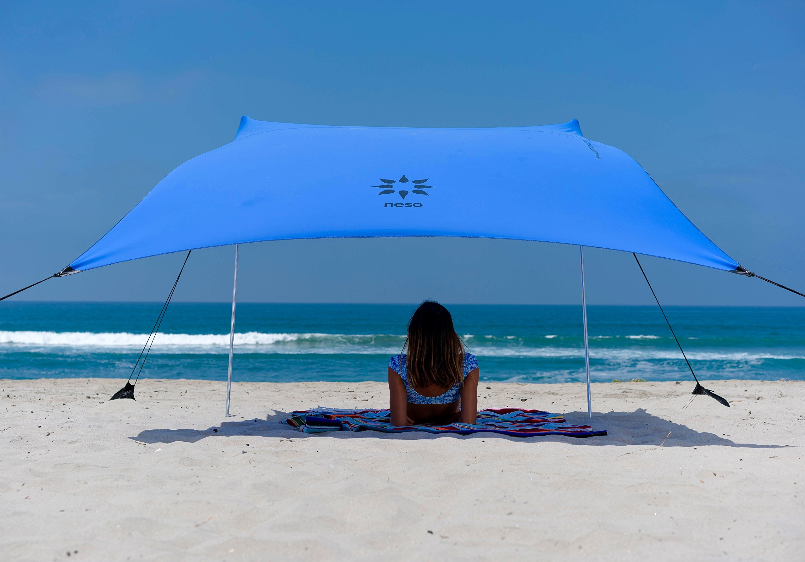 Neso Tents Beach Tent with Sand Anchor, Portable Canopy Sun Shelter, 7 x 7ft - Patented Reinforced Corners - Periwinkle Blue by Neso
