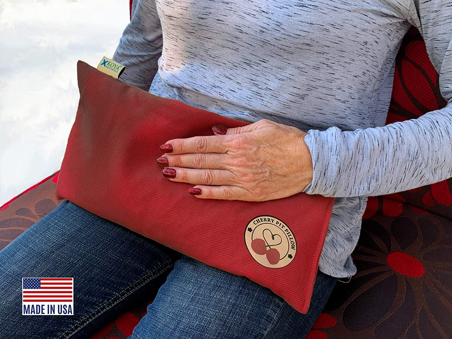KOYA Naturals Heating Pad Microwavable - Cherry Pit/Stone/Seed Pillow Heat Pack for Neck, Muscles, Joints, Stomach Pain, Menstrual Cramps - Warm Compress Neck Wrap - Moist Heat Therapy (Henna Red)