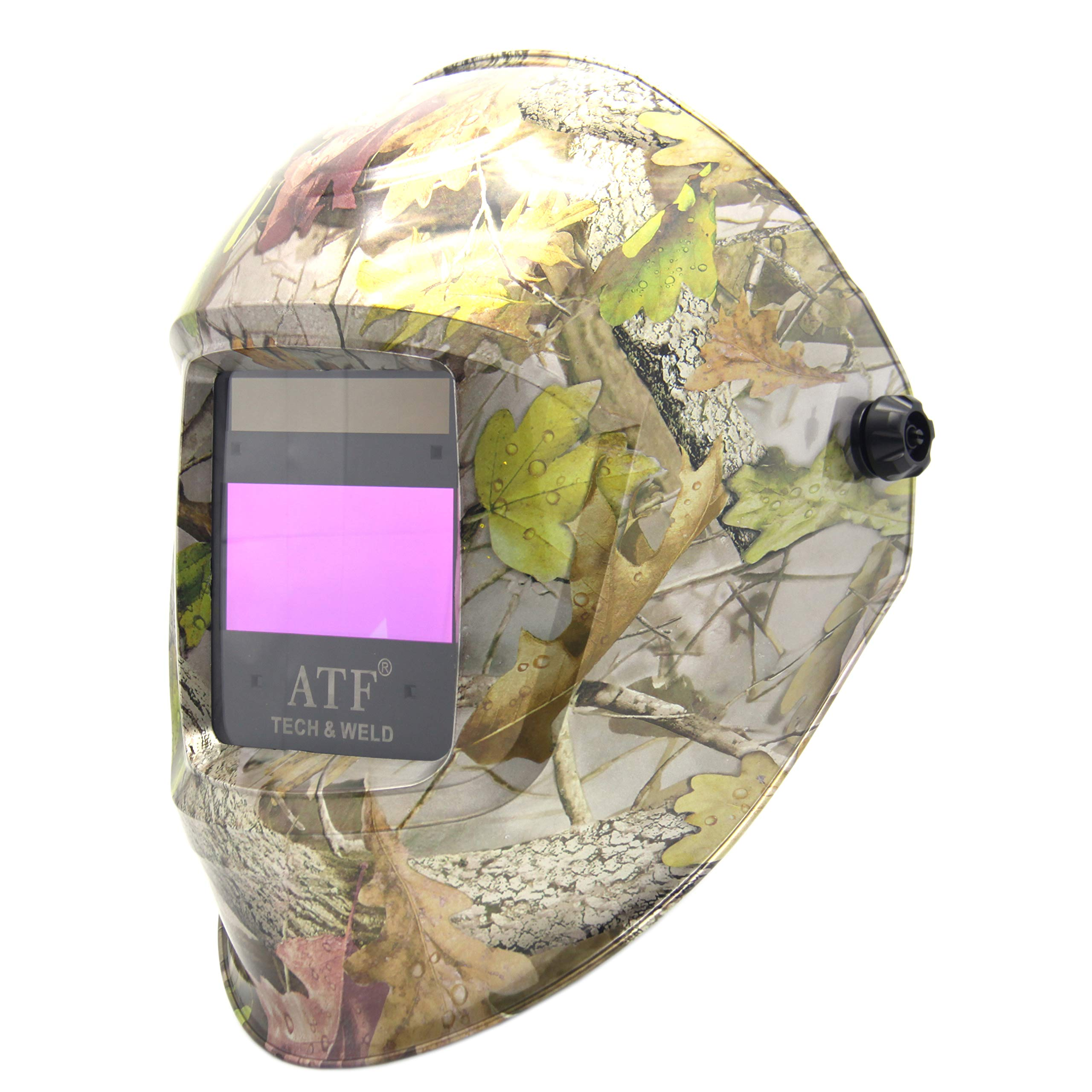 ATF Auto Darkening Solar Power Welding Helmet Forest Camo Leaf Mask with 1pc Extra Cover Lens Top Optical Class 1/1/1/1.Large View 3.94''x1.97'' Protect Face and Eyes From Risks