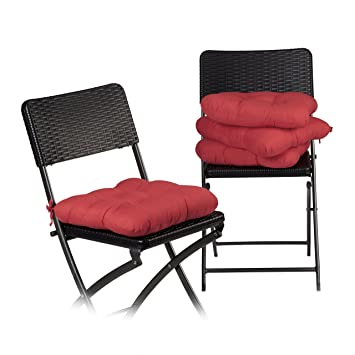 Relaxdays Coussin De Chaise Lot 4 Lavable 10 Cm Epaisseur Doux Moelleux Pour Siege
