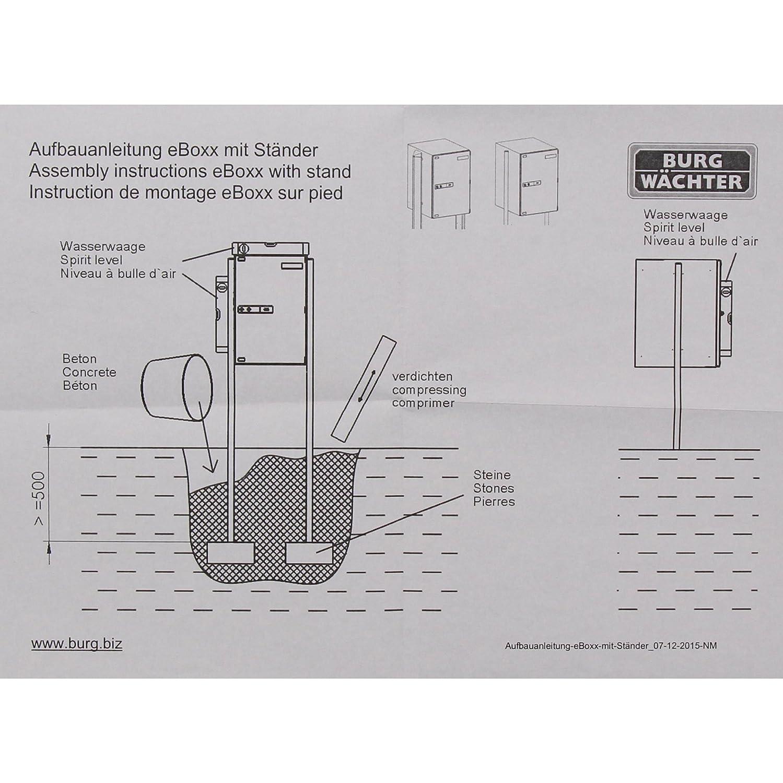 """BURG W""""CHTER Ständer für Paketbox 2 Pfosten Aluminium Zum Einbetonieren 1600 mm Höhe Terzo 160 eBoxx Weiß Amazon Baumarkt"""