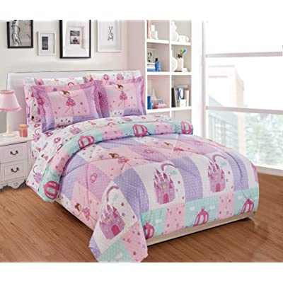 Linen Plus Comforter Set for Girls/Teens Fairy Tales Castle Princess Carriage Pink Lavender White New (Twin): Home & Kitchen