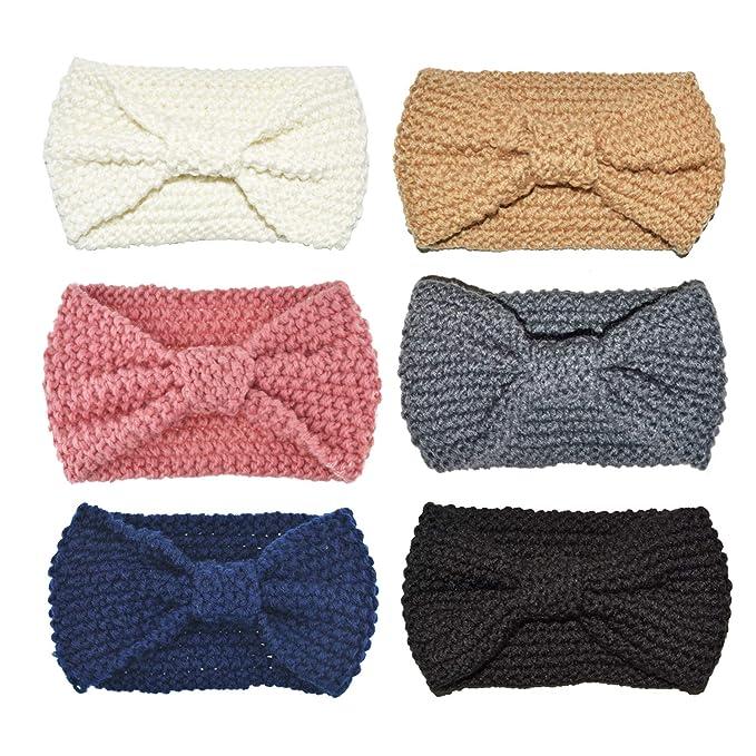 DRESHOW 6 Piezas Crochet Arco Turbante Knit Diadema Mujer Invierno Vendas  Elasticas Anchas Tejida Lana Cintas Para El Pelo Banda de pelo más cálido   ... 930e07d3889