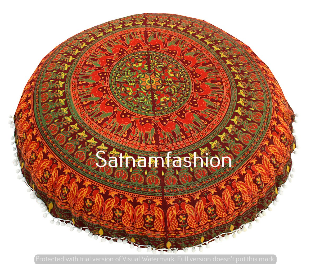 Indian Mandala Animal Printed Cotton Round Floor Pillow Cushion Cover 32'' Large Ottomans Pouf