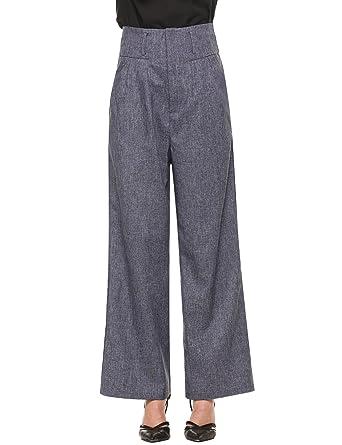 cooshional Weite Hosen Damen Casual Solid Flare Bein Hohe Taille Elegant  Hosenrock 6 Farben