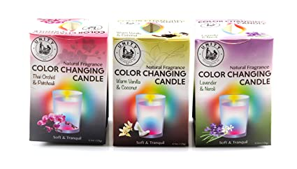 Unity Scented Color Changing Candles - 3-Pack - Natural Fragrances -  Peaceful, Ambient Light for Your Home & Bath - Glass Jar - Color Changing