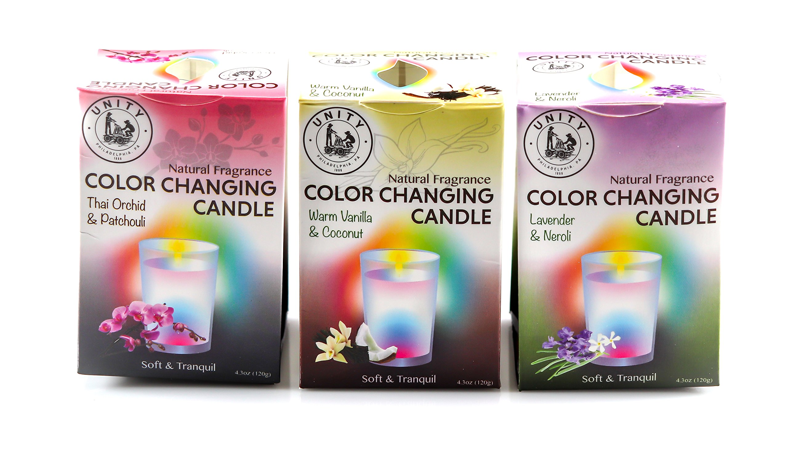 Unity Scented Color Changing Candles - 3-Pack - Natural Fragrances - Peaceful, Ambient Light for Your Home & Bath - Glass Jar - Color Changing Fiber-Optic Wick - No Batteries Required! by Unity-Frankford