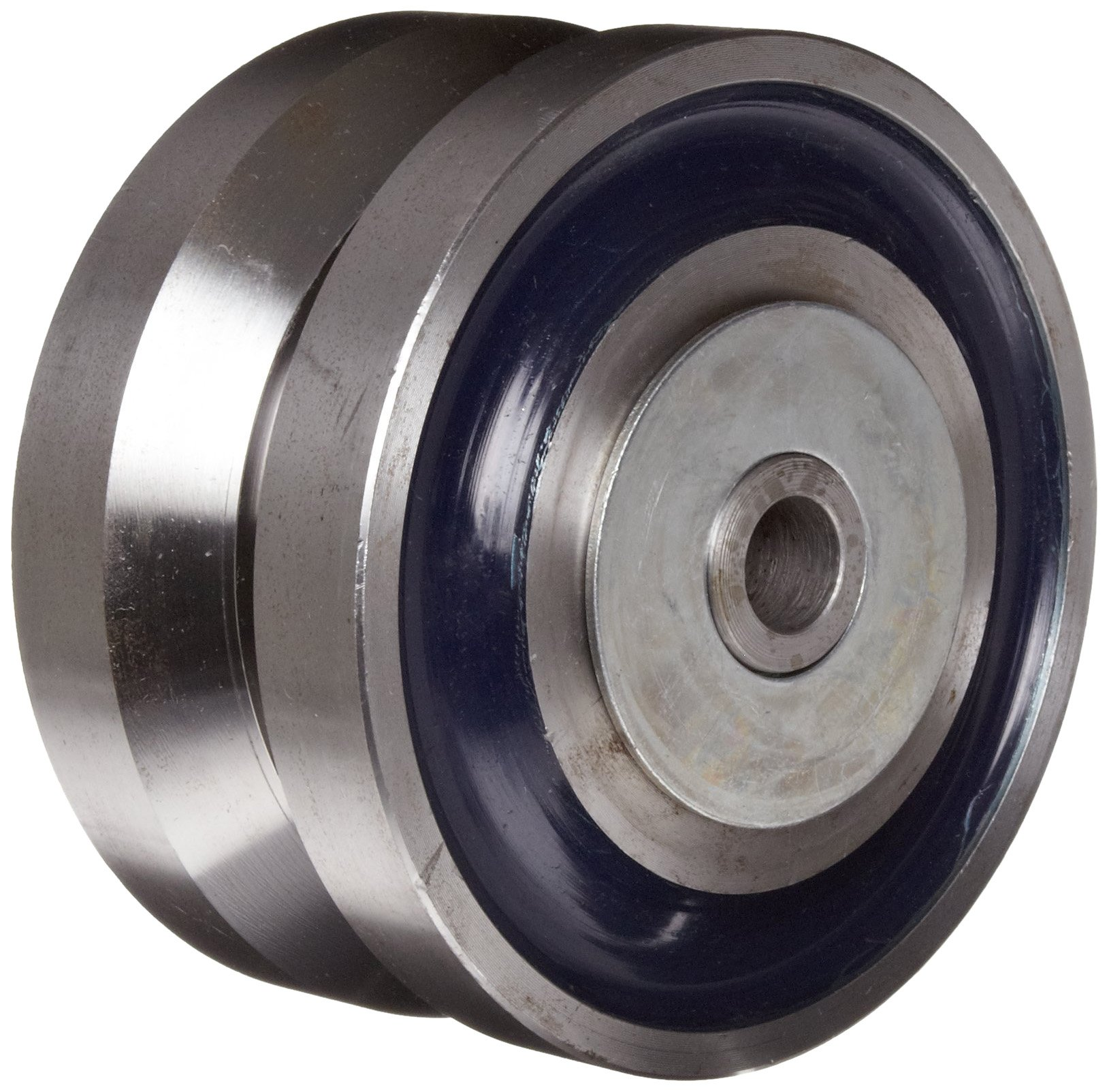 RWM Casters VFR-0630-12 6'' Diameter X 3'' Width Forged Steel V-Groove Wheel with Straight Roller Bearing, 7000 lbs Capacity