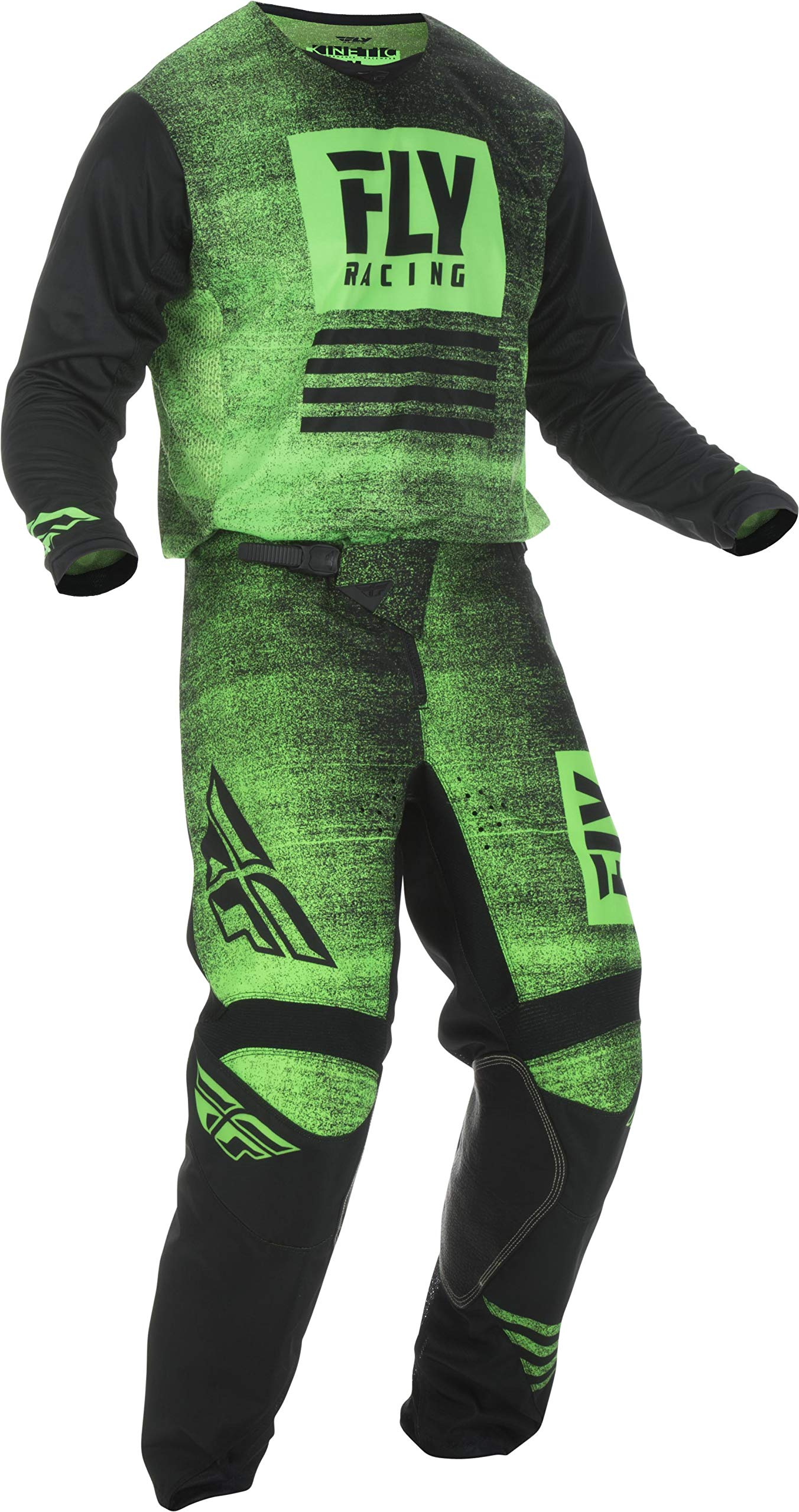Fly Racing - 2019 KINETIC NOIZ (Mens NEON GREEN & BLACK X-Large/34W) MX Riding Gear Combo Set Motocross Off-Road Dirt Bike Light Weight Durable Jersey & Mesh Comfort Liner Stretch Pre Shaped Knee Pant