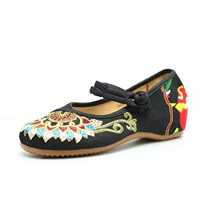 77f984fe7 CINAK Embroidered Flats Shoes Women's Chinese Embroidery Ballet Slip on Comfortable  Bohemia(6 B(