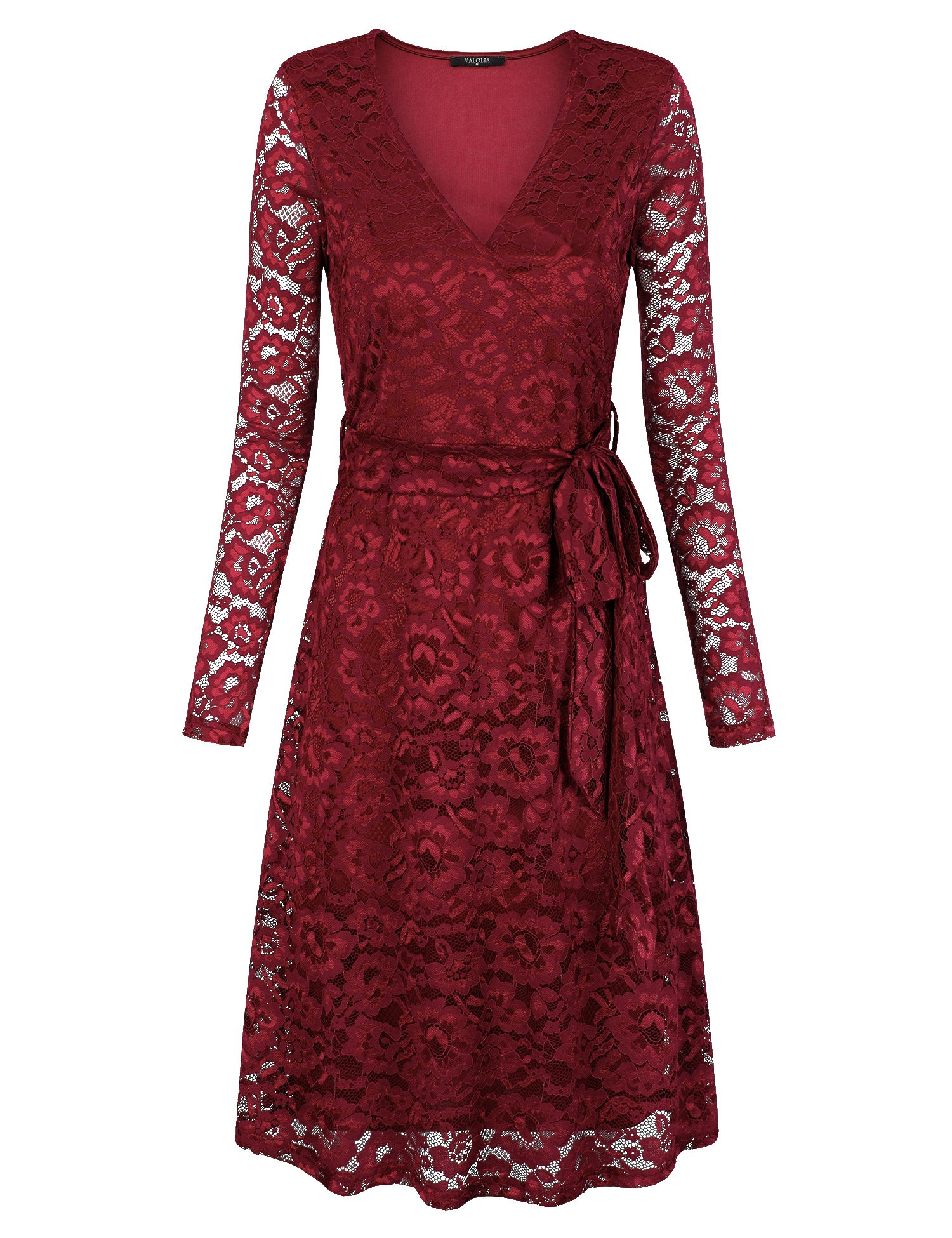 357b6f7a0c VALOLIA Women s Long Sleeve Vintage Lace Dress Cocktail Party Midi Dresses  with Lining Wine XL