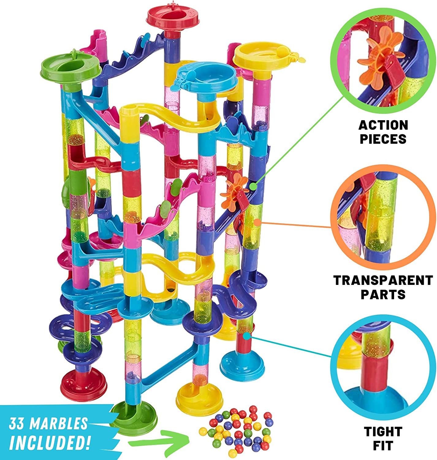 STEM Building Puzzle Blocks Educational Construction Toys Marble Maze for Toddler Giant Marble Race Railway Track Game WenToyce 120 Pcs Marble Run Sets for Kids